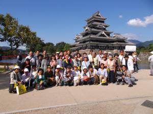 平成29年9月10~11日「秋の宿泊徒歩訓練~長野県諏訪方面」松本城をバックにみんなで記念撮影